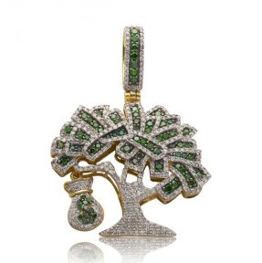 "10k Yellow Gold 2.35ctw Green & White Diamond Money Tree with Money Bag Pendant (1.67"" x 1.25"")"