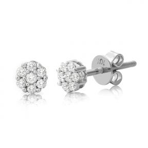 "10K White Gold 0.25 Carats (ctw) Diamond Flower Cluster Earrings 0.20"" Diameter"