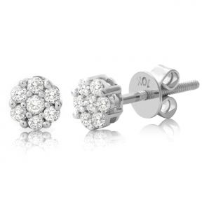 "10K White Gold 0.33 Carats (CTW) Diamond Flower Cluster Earrings 0.22"" Diameter"