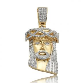 "10K Yellow Gold 0.50ctw (carats) Diamond Jesus Head Pendant Charm [Square Bail] (1.58"" x 0.74"")"