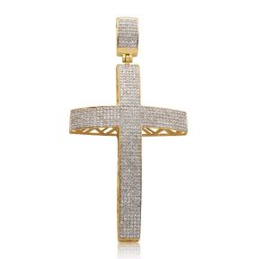 "10k Yellow Gold 1.15ctw Diamond Dome Micro Pave Cross Pendant (2.59"" x 1.31"")"