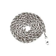 10K White Gold 4mm Solid Diamond Cut Rope Chain Necklace with Lobster Lock