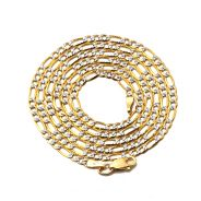 """10K Yellow Gold 2.5mm Solid Pave Two-Tone Figaro Chain Necklace w/ Lobster Lock 18"""", 20"""", 22"""", 24"""", 26"""""""