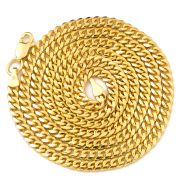 """10K Yellow Gold 3.5mm Solid Miami Cuban Link Chain Necklace with Lobster Lock (16"""" - 30"""")"""