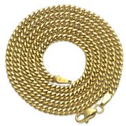 Lovebling 10k Yellow Gold 3.5mm Hollow Lightweight Miami Cuban Necklace for men