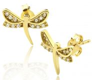 """10K Yellow Gold Dragonfly Shape Stud Earrings with 12 CZ (0.44"""" x 0.37"""")"""