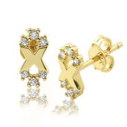 "10K Yellow Gold Infinity Shape Stud Earrings with 6 CZ (0.17"" x 0.33"")"
