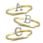 10k Yellow Gold Two Tone Dainty Letter Alphabet Womens Initial Ring