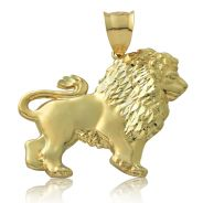 10k yellow gold lion full body charm pendant for chain necklace 2.00 by 1.82 inches