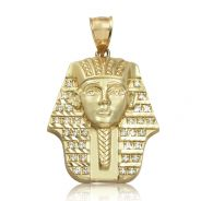"10K Yellow Gold King Tut Pharaoh Head with CZ Stones (1.96"" x 1.23"")"
