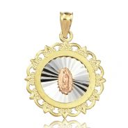 """10K Yellow Gold Mother Mary Of Guadalupe Medallion Charm Pendant (1.16"""" x 0.84"""")"""