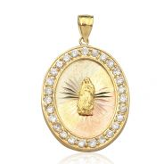 """10K Yellow Gold Tri Color Virgin Mother Mary Medallion Pendant w/ 27 CZ Stones (1.70"""" x 1.03"""")"""