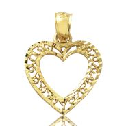 "10K Yellow Gold Heart Diamond Cut Charm Pendant (0.96"" x 0.70"")"