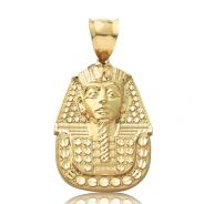 "10K Yellow Gold Diamond Cut Pharaoh King Tut Egyptian Head Pendent Charm (2.01"" x 1.09"")"