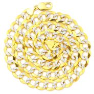 """14k Yellow Gold 11mm Solid Pave Curb Cuban Chain Necklace with White Gold Pave Diamond Cut W/ Lobster Lock ( 18"""" to 30"""")"""