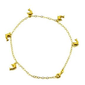 10K Yellow Gold 2mm Diamond Cut Rolo Chain with 5 Dolphin Charms Anklet Adjustable 9